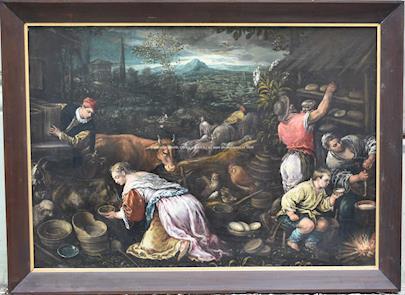 Leandro Bassano - následovník (17. století) - Květen (Výroba sýrů a pečení chleba) - VELKÝ FORMÁT
