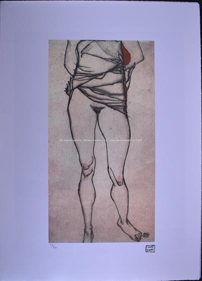 Egon Schiele - Akt s vyhrnutými šaty