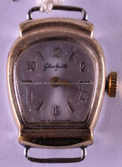 značeno Glashuette - Dámské náramkové hodinky, obecný kov, pozlaceno, hrubá hmotnost 7,54 g
