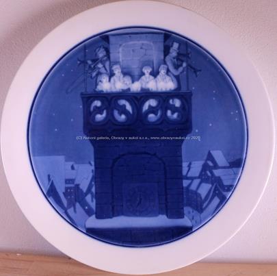 počátek 20. stol. - Talíř s motivem vánočních muzikantů