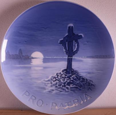 """Kodaň, 1916 - Upomínkový talíř """"Pro Patria"""""""