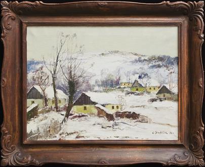 Oldřich  Blažíček - Vesnice v zimě