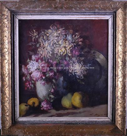 signatura nečitelná - Zátiší s květinou a ovocem