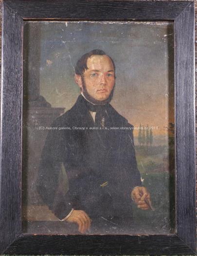 středoevropský malíř 19. stol. - Portrét mladého muže