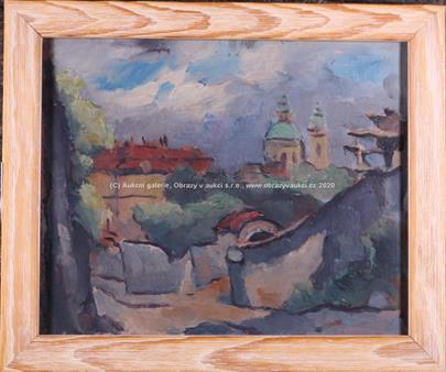 nesignováno - Soubor 2 prací: Pohled na Prahu a U vesnického stavení