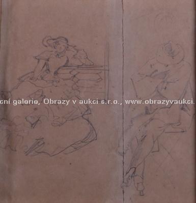 Josef Mánes - připsáno - Dvě kresby ze zámku Čechy