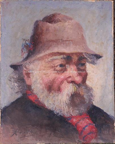 Pavel Raszka - Muž v klobouku s červenou šálou