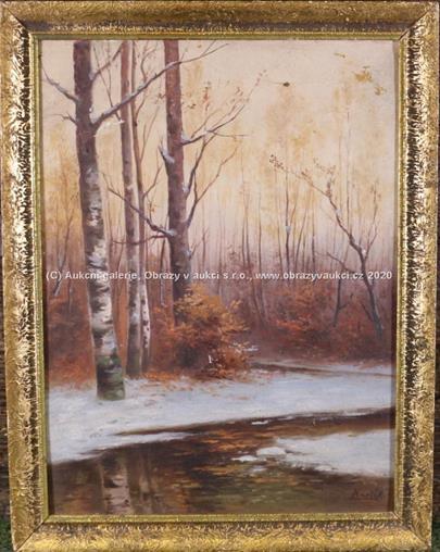Josef Barták - Lesní potok v zimě