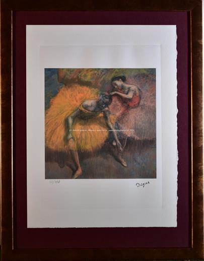 Edgar Degas - Two Dancers - Yellew and Rose