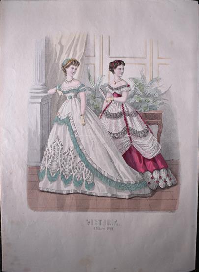 francouzský umělec 19. stol. - 5x Francouzská móda kolem roku 1870