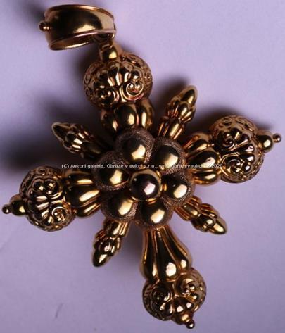 .. - Závěs, zlato 580/1000, zančeno platnou puncovní značkou č. 4 Au liška, hrubá hmotnost 10,95 g