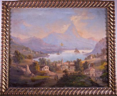 středoevropský malíř 1. pol. 19. stol. - Malebná vesnička v horské zátoce