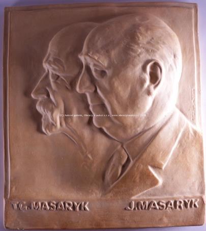 Čechy, 20. století - Reliéf T. G. Masaryka a J. Masaryka