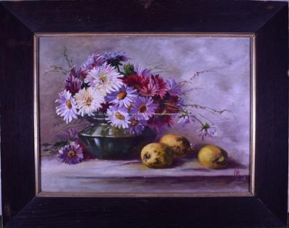 monogramováno nečitelně - Zátiší s květinou a citrony