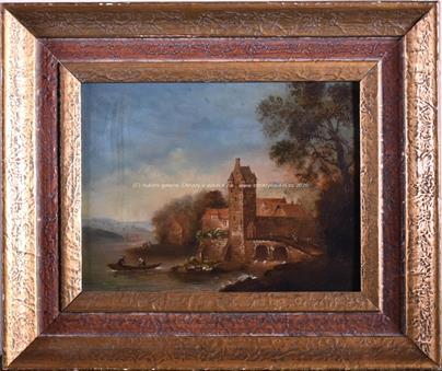 evropský malíř konce 18. stol. - Romantické zákoutí s hradem
