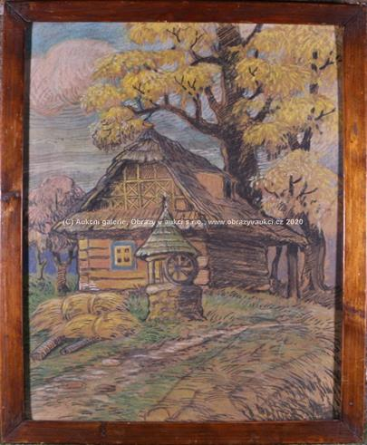 středoevropský malíř 2. pol. 20. stol. - Chalupa pod stromem
