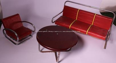 Jindřich Halabala - Dětský nábytek: Stůl, křeslo a pohovka