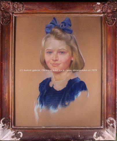 signatura  nečitelná - Děvčátko s mašlí