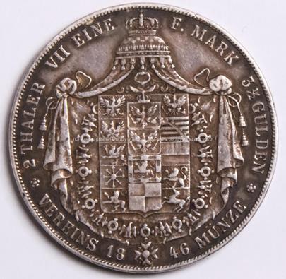 Friedrich Wilhelm IV. - 2 tolary - stříbro 900/1000, hrubá hmotnost mince 37,06 g