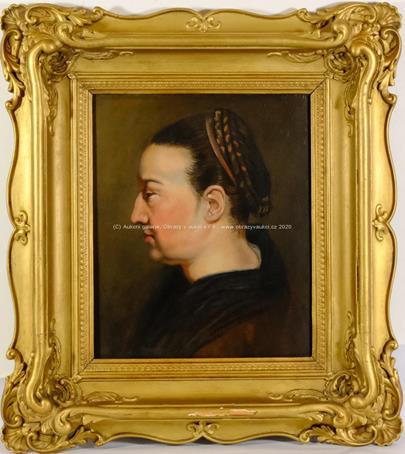 středoevropský malíř kolem pol. 19. stol. - Portrét ženy z profilu