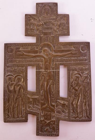 Rusko 19. stol. - Ikona Mosazný kříž s Ukřižovaným