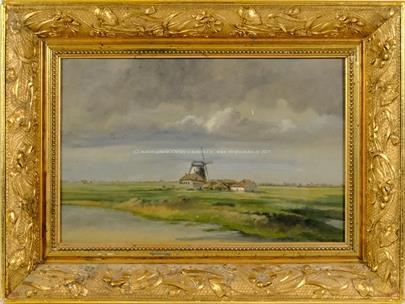 Signováno nečitelně - Větrný mlýn v krajině