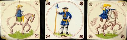 18. století - 3x barokní kachel