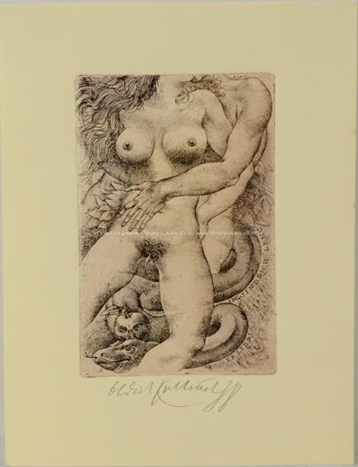 Oldřich Kulhánek - Exlibris Adam a Eva