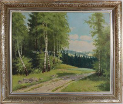 Signováno nečitelně - Cesta na kraji lesa
