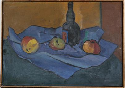 L. Doležal - Zátiší s flaškou a jablky