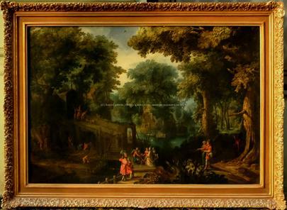 pravděpodobně západoevropský malíř 17. století - Krajina s figurální stafáží - VELKÝ ROZMĚR
