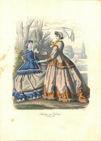 Francie 60. léta 19. stol. - Konvolut 5 grafických listů Dámy v dobových kostýmech