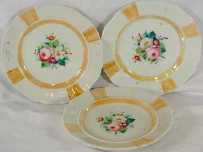 Dolní Chodov 1845 - 1872 - Konvolut 3 talířů