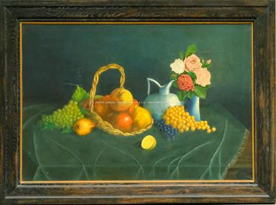Raimund Ondráček - Zátiší s ovocem a růžemi - VELKÝ FORMÁT