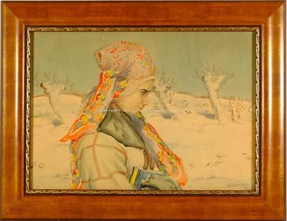 Otto Molitor - Portrét dívky v zimním kroji