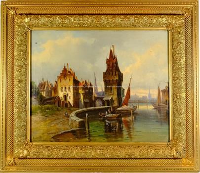 Karl Kaufmann - Holandské město s bárkami
