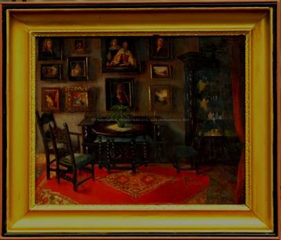 signováno nečitelně - Interiér pokoje s obrazy