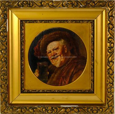 středoevropský malíř přelomu 19. a 20. stol. - Muž se sklenkou
