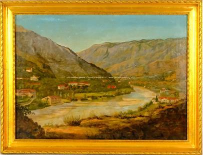 středoevropský malíř přelomu 19. a 20. stol. - Městečko v údolí
