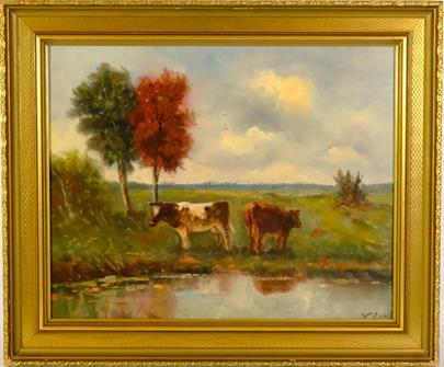 signováno nečitelně - Krávy u vody