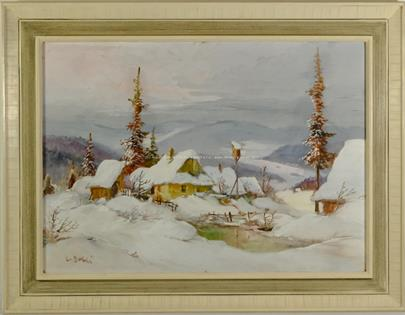 Ludvík Dobeš - Zasněžená chalupa v horách