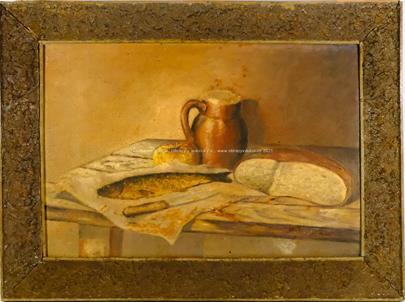 nesignováno - Zátiší s rybou a chlebem