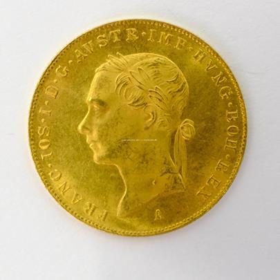 .. - Zlatý pamětní dukát na 50. let vlády Františka Josefa I. 1848 A /1898 ,,hlava vlevo,,. Zlato 986/1000, hrubá hmotnost 3,49g