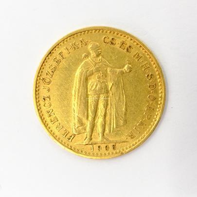 .. - Rakousko Uhersko zlatá 10 Koruna 1906 K.B.  uherská. Zlato 900/1000, hrubá hmotnost mince 3,387g