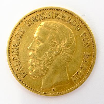 .. - Zlatá mince 10 marek, Německo 1891 G. Zlato 900/1000, průměr 19,5 mm, hrubá hmotnost 3,98 g
