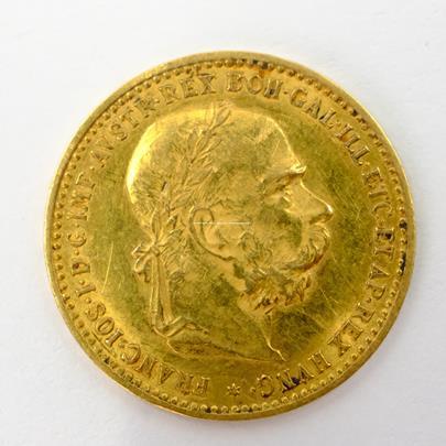 .. - Rakousko Uhersko zlatá 10 Koruna 1905 rakouská. Zlato 900/1000, hrubá hmotnost mince 3,387g