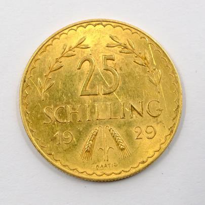 .. - Zlatá mince Rakouská republika . 25 Schilling rok 1929.Zlato 900/1000 hrubá hmotnost 5,881g