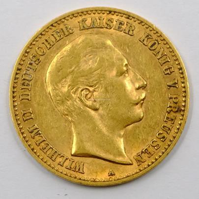 .. - Zlatá mince 10 Mark Wilhelm II. 1904. Zlato 900/1000, hrubá hmotnost 3,982g