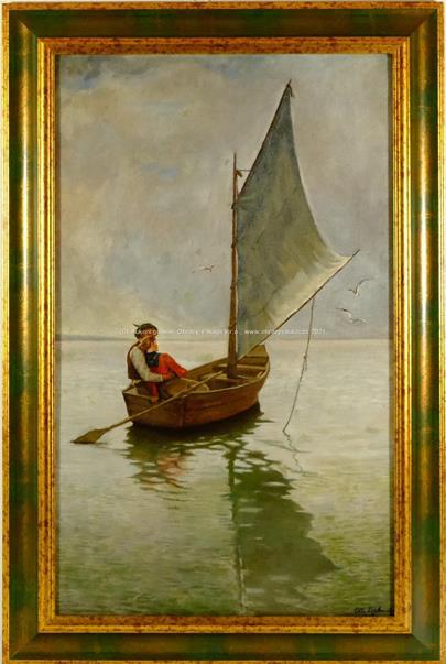 signováno nečitelně - Romantika na loďce