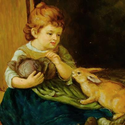 signováno nečitelně - Děvčátko s králíkem